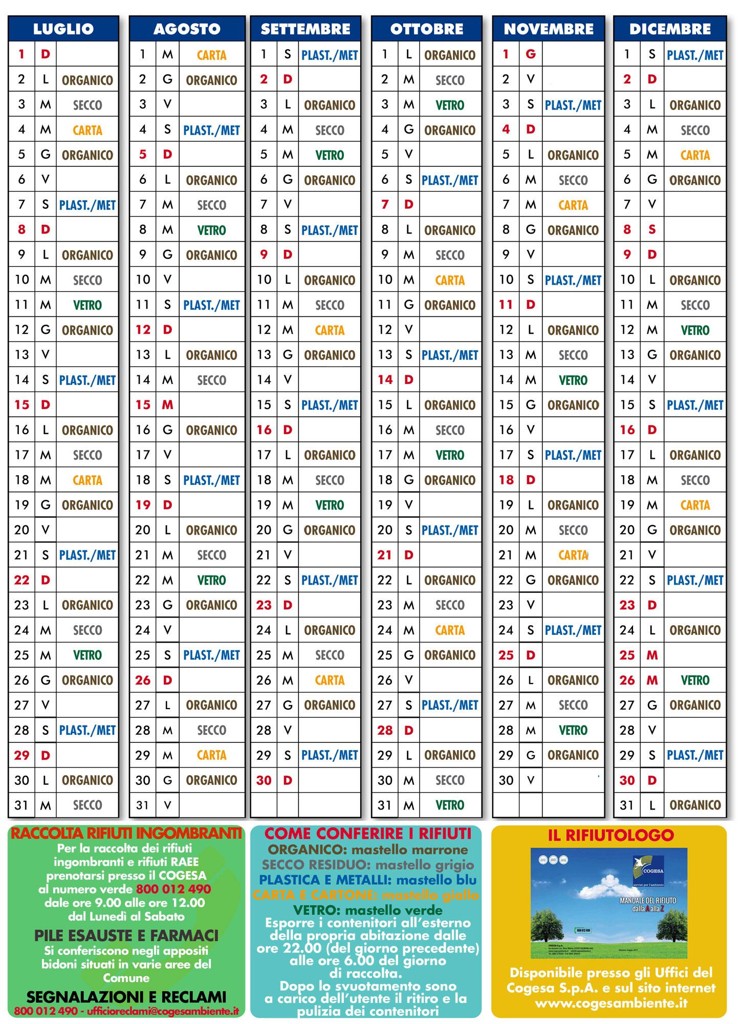 Calendario Raccolta Differenziata Rieti.Raccolta Differenziata Dei Rifiuti Calendario 2018