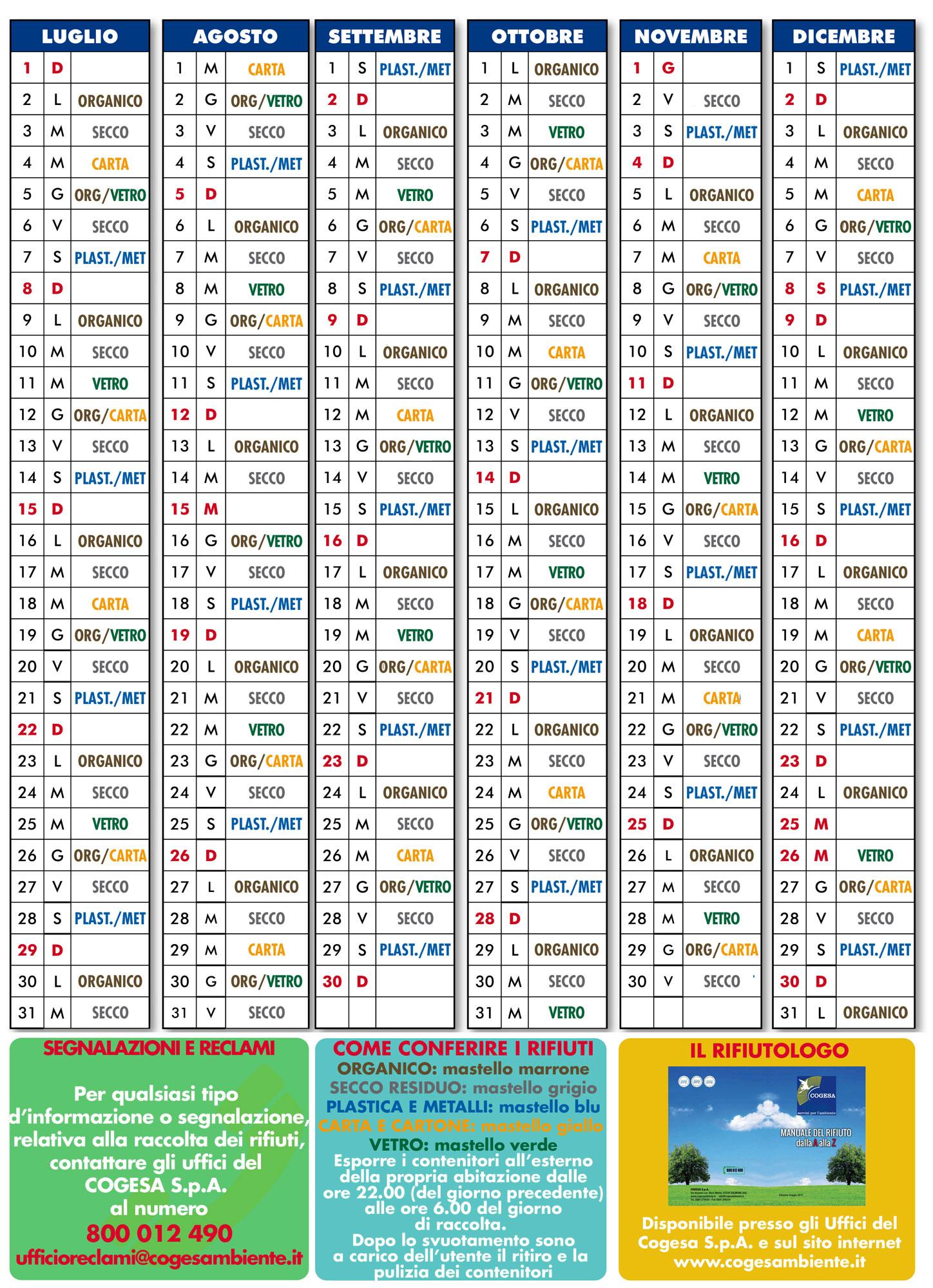 Raccolta Differenziata Siracusa Calendario 2019.Raccolta Differenziata Dei Rifiuti Calendario 2018